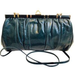 Vtg Teal Vegan Leather Shoulder Bag Gold Hardware